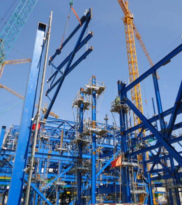 blue beam construction site